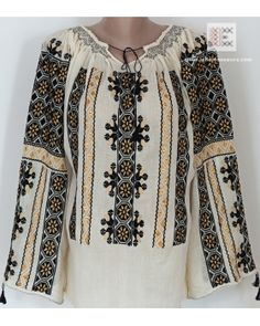 more than 100.000 cross stitching points are made by hand in order to complete the embroidery of this lovely and delicate Romanian peasant blouse. Worldwide shipping from www.RomanianBlouses.com