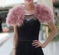 Handmade pink real Fur Ostrich Feather colors optional sleeve bolero bridal jacket bridal cape wedding shrug wedding jacket wedding shawl