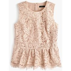J.Crew Lace Peplum Top (1.559.730 IDR) ❤ liked on Polyvore featuring tops, going out tops, special occasion tops, lace peplum top, pink top and party tops