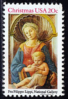 USA.  Christmas.  Madonna and Child by Fra Filippo Lippi.  Scott 2116 A1492.  Issued 1984 Oct. 30.  Photo.,  Perf. 11,  20c.  /lldb.
