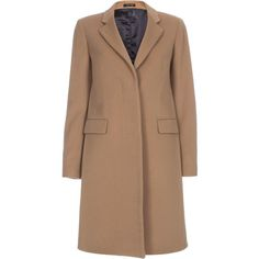 Paul Smith Women's Camel Cashmere And Virgin Wool Epsom Coat found on Polyvore featuring outerwear, coats, jackets, camel, beige coat, single breasted coat, paul smith, camel cashmere coat and paul smith coat
