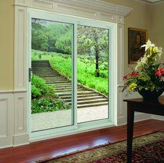unique vue de la porte coulissante vitrée