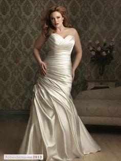 Sophisticated trompette sirène sweetheart ruché Floor-length Taille Plus robe de mariée