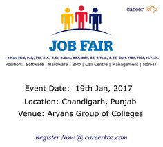 Aryans Group of Colleges is Organizing a Mega Job fair event for Fresher's/Experienced on 19th Jan, 2017 in Multiple companies for multiple vacancies at Chandigarh, Punjab.