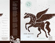 packaging for dark matter coffee - shape of pegasus constellation made out of coffee grounds