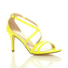 Womens ladies mid low high heel strappy crossover party wedding prom sandals shoes