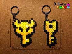 Zelda Master Key and Small Key Perler Beads Keychains