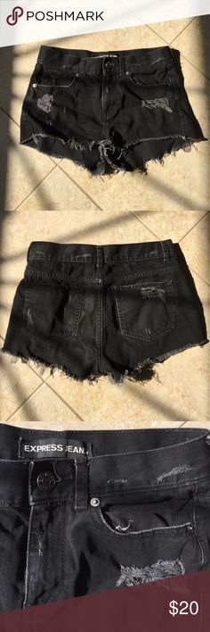 Distressed Black Denim Shorts Shorts are in great condition as I've hardly worn them. High waisted. Size 4. #highwaitstedshorts #blackdenim #distressed Express Shorts Jean Shorts
