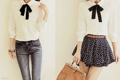 Bow blouse that looks good with pants or a skirt!