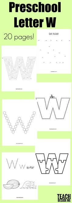 Letter of the Week: Preschool Letter W Activities – Teach Beside Me Letter W Activities, Shape Tracing Worksheets, Printable Alphabet Worksheets, Writing Practice Worksheets, Handwriting Worksheets, Preschool Letters, Printable Letters, Preschool Activities, Alphabet Letter Crafts