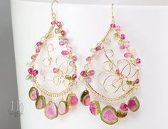 Tentatrice earrings ... Watermelon Tourmaline slice, Pink & Green Tourmaline, Pink Amethyst, 14k Gold Filled