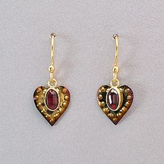 Holly Yashi Garnet Heart Earrings - Garnet