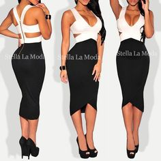 $29.99 Black White Sexy Cut-Out Midi Dress