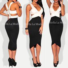 $29.99 Black White Sexy Cut-Out Midi Dress