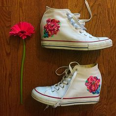 Flowered Chuck Taylors  by FollowedbyFlowers on Etsy https://www.etsy.com/listing/229117818/flowered-chuck-taylors