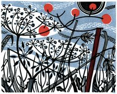 Angie Lewin is a lino print artist, wood engraver, screen printer and painter depicting the UK's natural flora in linocut and other limited edition prints. Linocut Prints, Art Prints, Angie Lewin, Arte Floral, Wood Engraving, Grafik Design, Gravure, Screen Printing, Christmas Cards