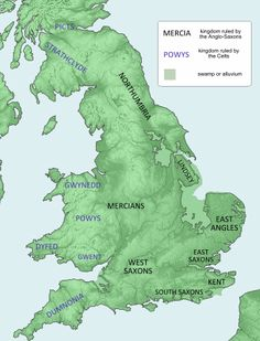 The kingdoms of Britain in the late seventh century, when Æthelbald was born.