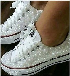 Wedding Converse Sneakers featuring Faux Pearls, Converse Wedding Sneakers with Pearls, Pearl Wedding Shoes, Pearl Sneakers, Wedding Shoes - Fashion Shoes Ideen Wedding Sneakers, Wedding Converse, Wedding Tennis Shoes, Bling Wedding Shoes, Wedding Jewelry, Bling Shoes, Prom Shoes, Pearl Shoes, Bling Inverse
