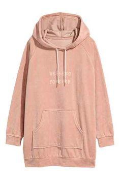 Velour hooded top