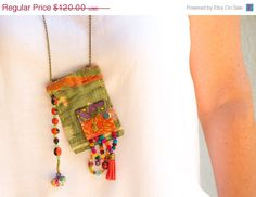 SUMMER SALE Vintage Hindu textile necklace upcycled by ATLIART