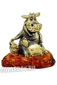 """фигурка """"Корова с Ведром"""" Baltic Amber, Clock, Teddy Bear, Toys, Animals, Decor, Watch, Activity Toys, Animales"""