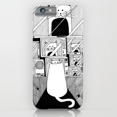 Honey! The cat is watching TV again! iPhone & iPod Case