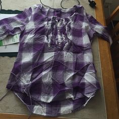 Aeo button down top Purple and white plaid, has a string tie at the bottom, 3/4 length sleeves American Eagle Outfitters Tops Button Down Shirts