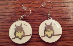 """Handmade earrings with picture from """"My Neighbor Totoro""""  FInd on Esty---Willy WImbles"""