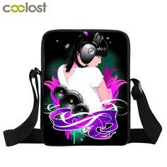 c86ba06de848 Young Men Women House Music DJ Mini Messenger Bag Punk Rock Disc Jockey  Crossbody Bag Boys Girls School Bags Gift Shoulder Bags