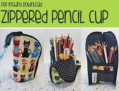 Zippered Pencil Cup Pencil Case Sewing Pattern Download from Rae Bean Collection