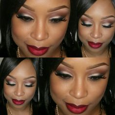 MOTD /Brows are spiked pencil /Foundation is studio fix fluid nc45 / eyes are brown script carbon and 2 colors from the coastal scents revealed palette/ liner is motives liquid liner / lashes are motives for lala #110 /Blush is sun power skin finish / lips are nightmoth with ruby woo.