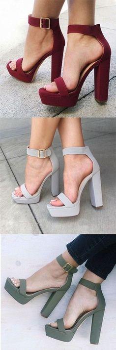 New Chunky Heel Platform Sandals #PlatformSandals