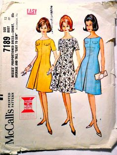 Misses Proportioned Dress Short, Average, Tall Mad Men Vintage Sewing Pattern McCalls 7189 Size 12