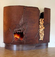 Contemporary Art - Design - Craft - Fireplace mantel of steel and brass made by Austrian metal artists. Custom made fireplace . Made by GAHR - Metal Art from Austria. Faux Fireplace, Fireplace Surrounds, Fireplace Design, Fireplace Mantels, Distressed Fireplace, Fireplace Ideas, Rusty Metal, Light My Fire, Wood Burner