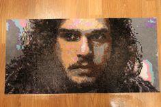 "Jon Snow - Perler Bead Portrait - Game of Thrones - Wall Art by PixelatedPortraits13 (This piece measures app 26""x14"" )"