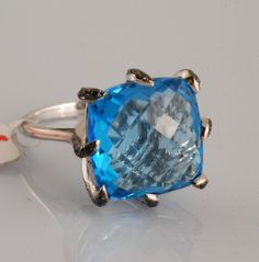 Topaz and Black Diamond Ring