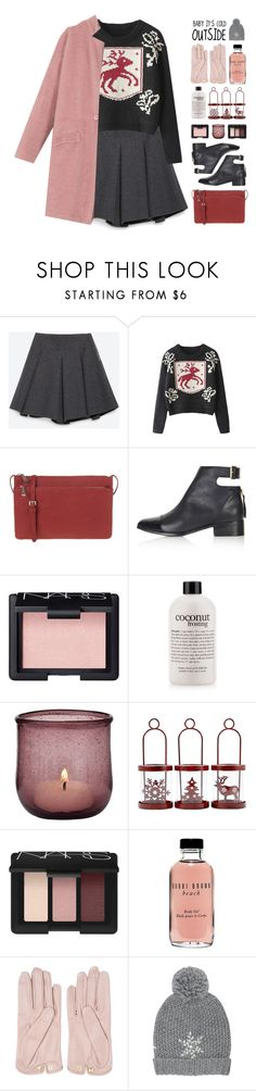 """""""BABY IT'S COLD OUTSIDE"""" by emmas-fashion-diary ❤ liked on Polyvore featuring Zara, Parfois, Topshop, NARS Cosmetics, philosophy, Cultural Intrigue, Bobbi Brown Cosmetics, Mario Portolano and M&Co"""