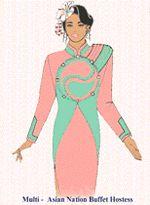 Asian hostess uniform Corporate Uniforms, Airline Uniforms, Uniform Design, Costume Design, Asian, Costumes, Disney Princess, Disney Characters, Apparel Design