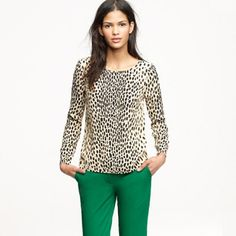 J Crew Wildcat Blouse Long sleeve blouse, animal print, long sleeve, 100% rayon, still in like new condition! J. Crew Tops Blouses