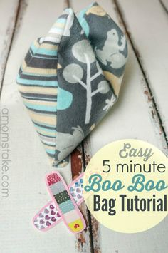 Homemade Boo Boo Bags sewing tutorial - A Fun DIY Project that you can make in just 5 minutes! Use them as ice packs, hand warmers, or for ouchies. Inexpensive rice packs make perfect gifts, too!