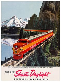 Portland Travel Poster San Francisco Train Art by Blivingstons