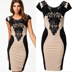 Floral Lace Short Sleeve Evening Party Casual Mini Dress