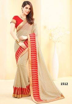 STYLE: Designer Saree FABRIC: Georgette WORK: Print, Lace Work COLOUR: Red, Cream OCCASION: Party, Festival, Reception, Ceremonial Package Details : 1 saree::1 blouse Blouse available : Yes Blouse color : as per image Blouse Fabric : RAWSILK Saree Size:- 5.50 mtr Blouse Size:-0.80 mtr