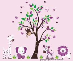 Nursery Wall Decal with Giraffe, Elephant, Zebra, Lion - Baby Wall Decal -  Children Wall Decal - 529