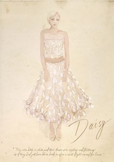 The Great Gatsby (2013) | Designer Catherine Martin's sketch of Carey Mulligan's Daisy Buchanan.
