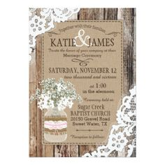 Country Bouquet Wood Lace Rustic Wedding Card