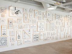 Absolutely love this 60-foot wall installation for AirBnb 's San Francisco office, illustrated by Timothy Goodman .   We cut and painted 11...