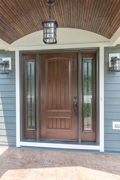 Provia Signet Door in Hazelnut! (Opal Enterprises also installed the new Portico and porch ceiling Front Entry, Entry Doors, Front Porch, Garage Doors, Front Doors, Porch Ceiling, Small Porches, Pot Lights, Exterior Remodel