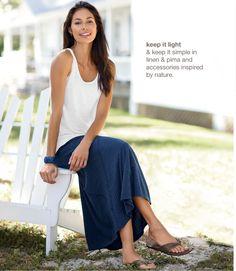 summer linen knit tank, pima striped seamed skirt, soft leather thongs, tagua stretch bracelet