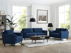 Get inspired by Modern Living Room Design photo by Wayfair. Wayfair lets you find the designer products in the photo and get ideas from thousands of other Modern Living Room Design photos. Living Room Furniture, Living Room Decor, Blue Living Room Sofas, Rustic Furniture, Modern Furniture, Blue Sofas, Furniture Layout, Furniture Stores, Furniture Ideas